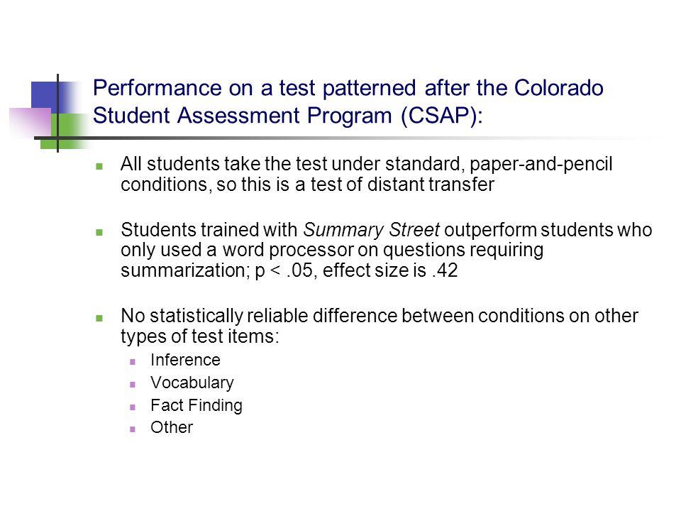 Performance on a test patterned after the Colorado Student Assessment Program (CSAP):