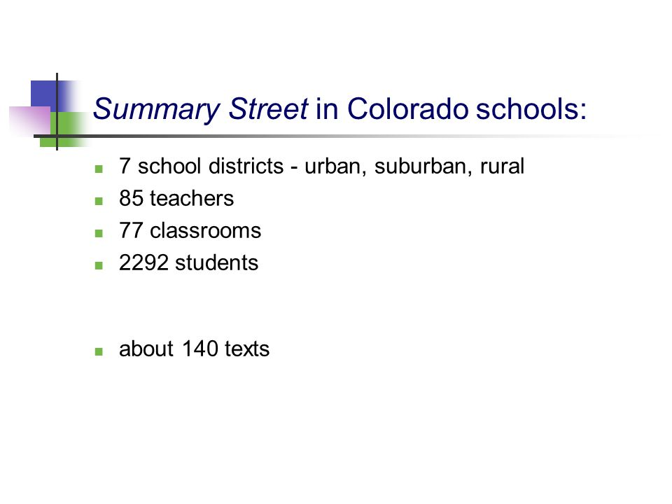 Summary Street in Colorado schools:
