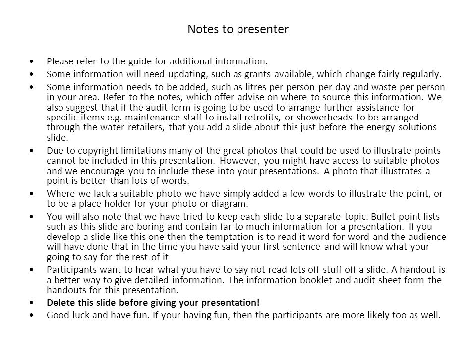 Notes to presenter Please refer to the guide for additional information.