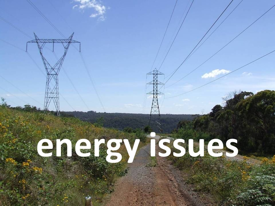 energy issues There are a number of issues with the level of energy we currently use.