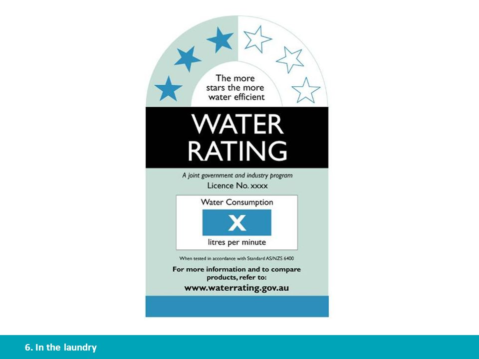 If your client is buying a new washing machine, encourage them to get one with a high water rating – the more stars the better. Products which have a water rating include showers, taps, flow controllers, toilets, urinals, clothes washing machines and dish washers. You can find more information, and find the water ratings for different brands and models at www.waterrating.gov.au.