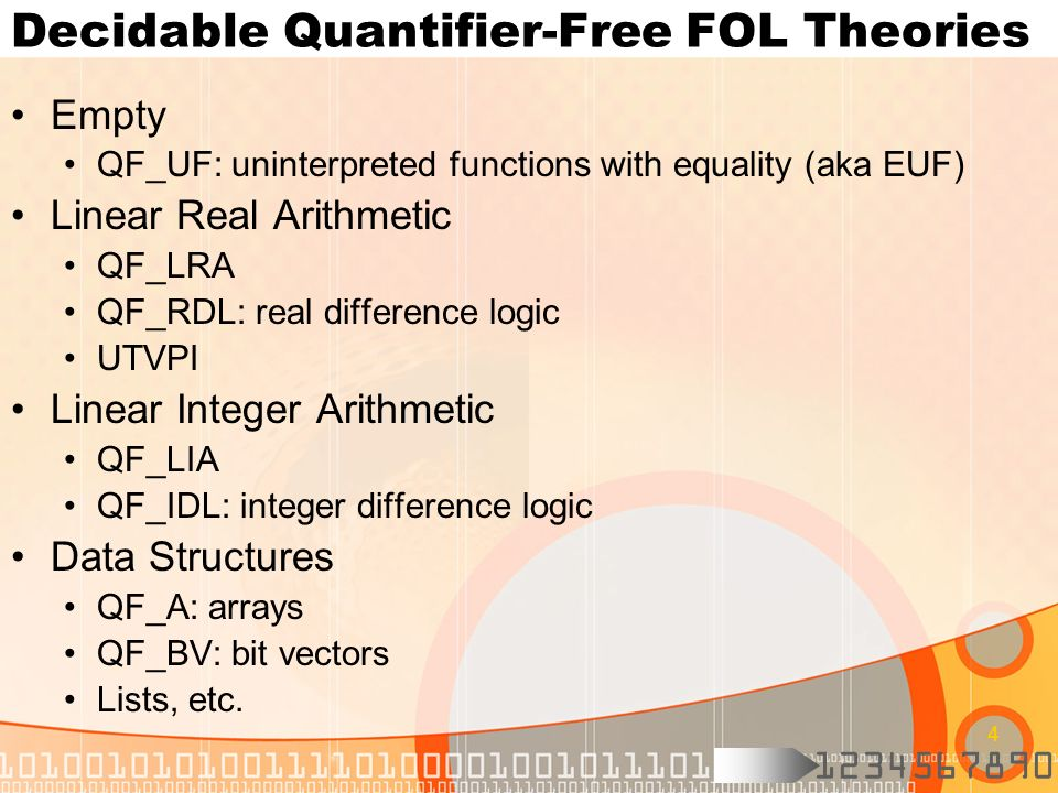Decidable Quantifier-Free FOL Theories