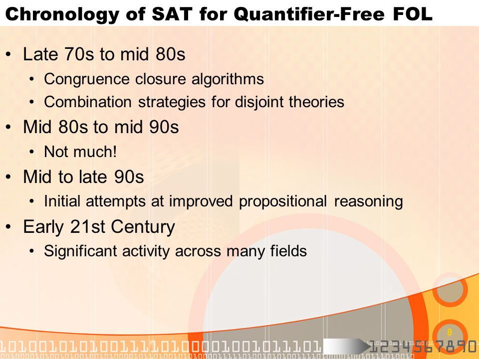 Chronology of SAT for Quantifier-Free FOL