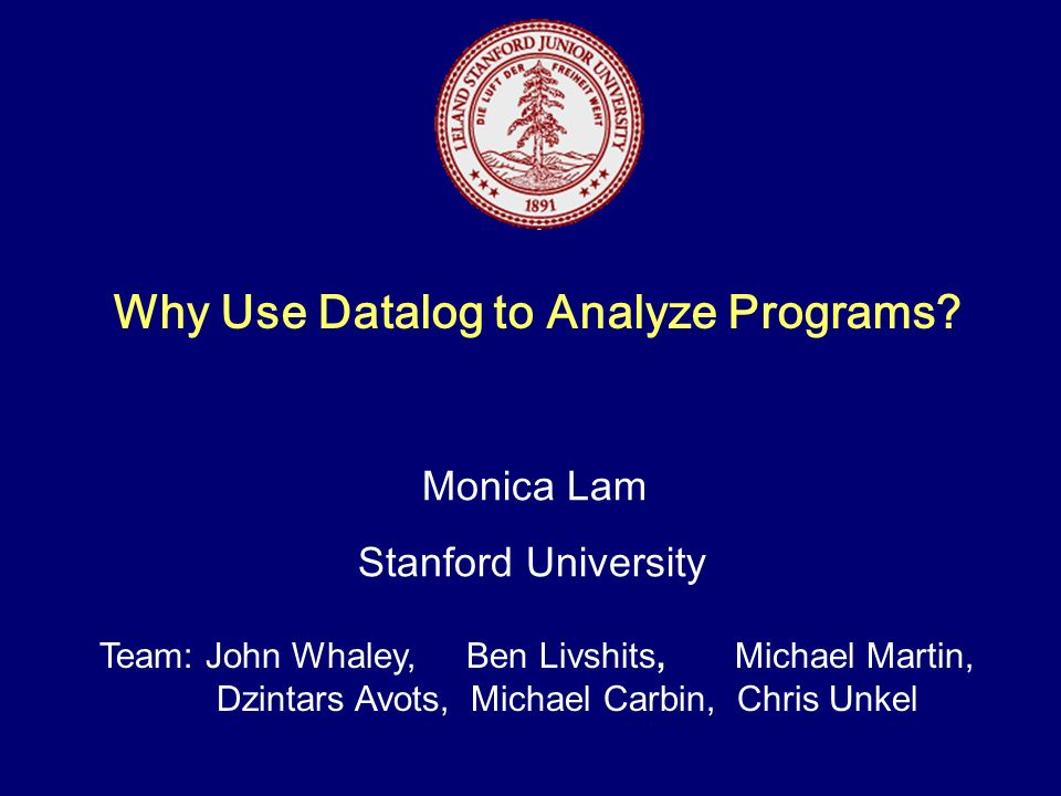 Why Use Datalog to Analyze Programs