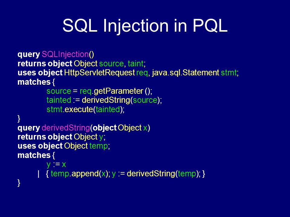 SQL Injection in PQL query SQLInjection()