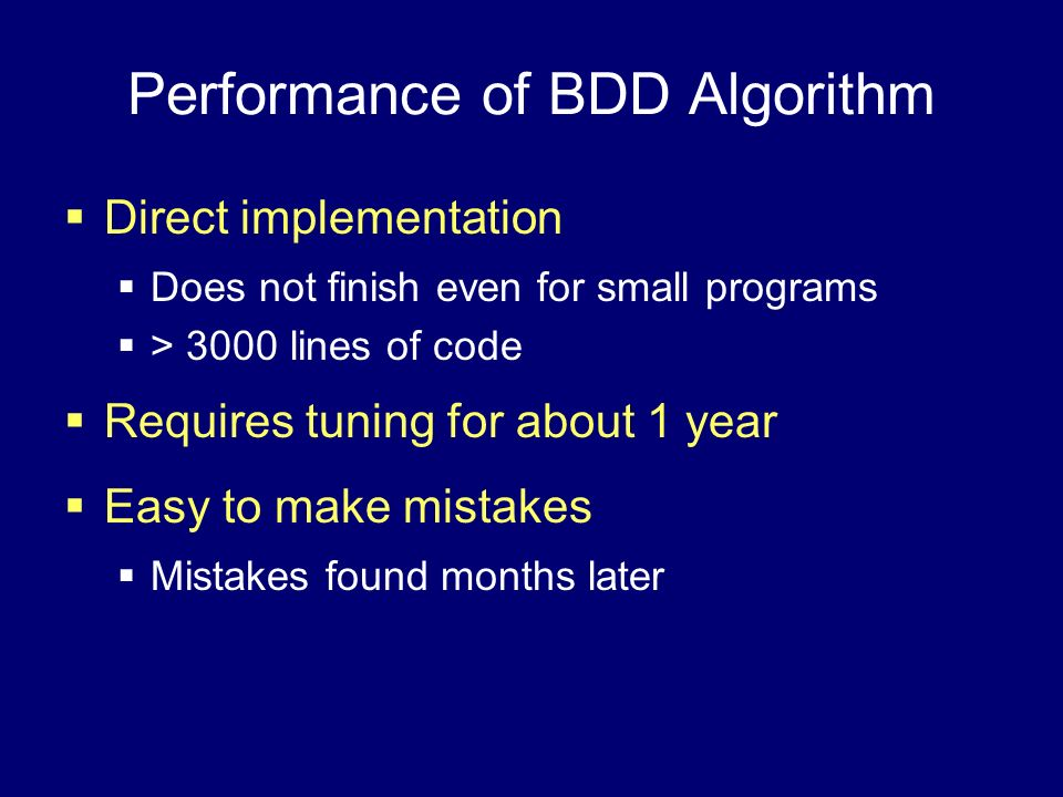 Performance of BDD Algorithm
