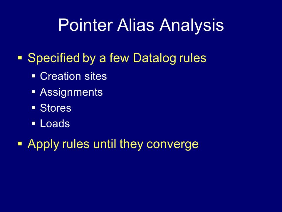 Pointer Alias Analysis