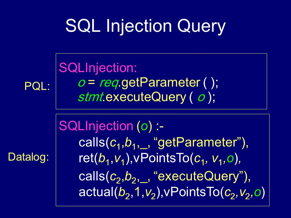 SQL Injection Query SQLInjection: o = req.getParameter ( );