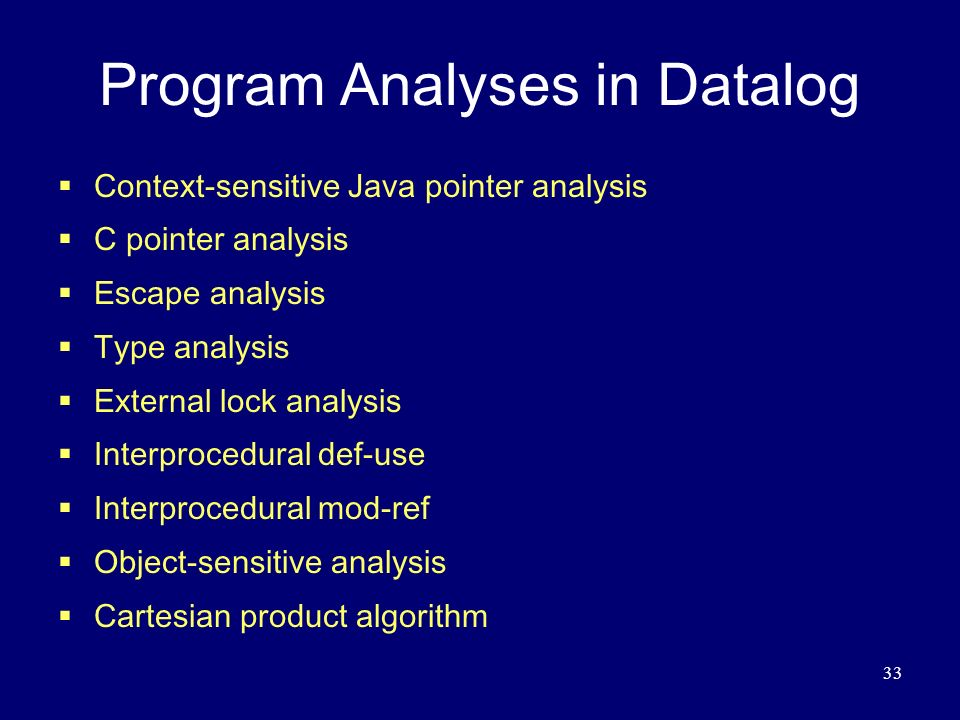 Program Analyses in Datalog