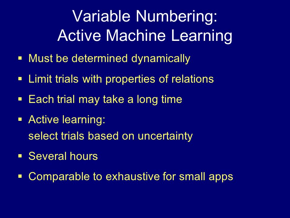 Variable Numbering: Active Machine Learning