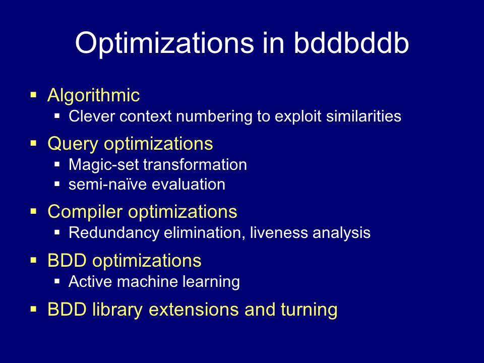 Optimizations in bddbddb