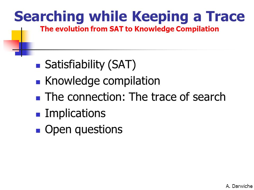 Searching while Keeping a Trace The evolution from SAT to Knowledge Compilation