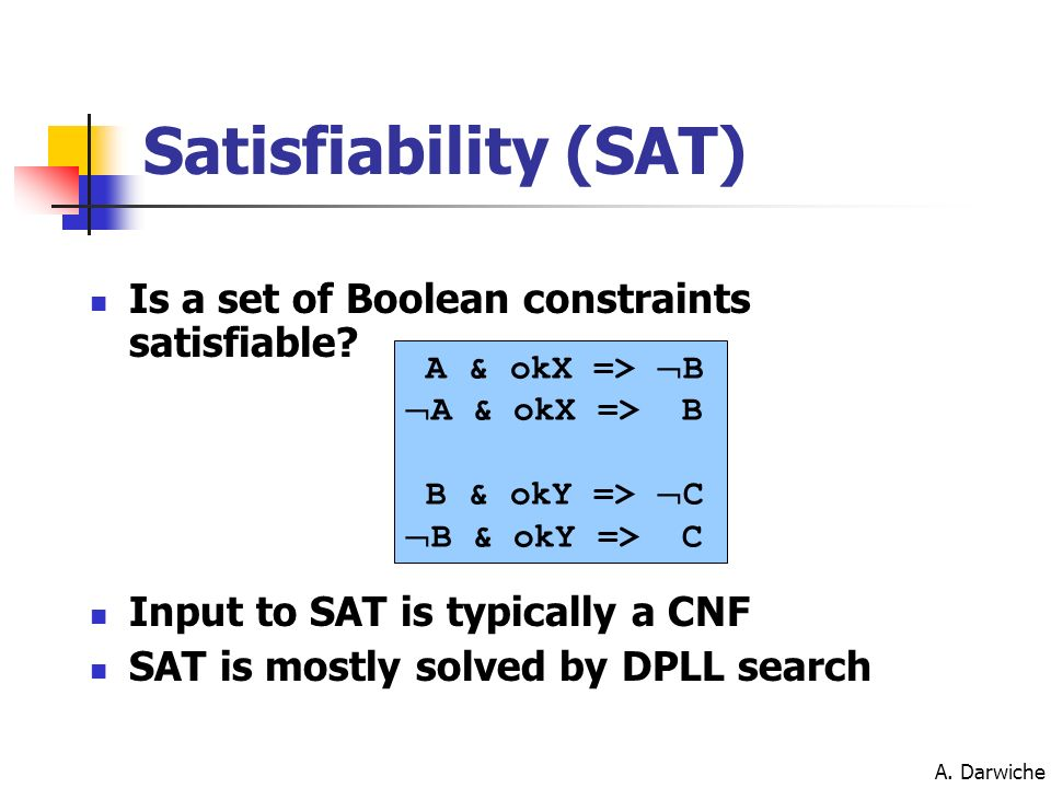 Satisfiability (SAT) Is a set of Boolean constraints satisfiable