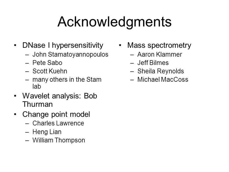 Acknowledgments DNase I hypersensitivity Wavelet analysis: Bob Thurman
