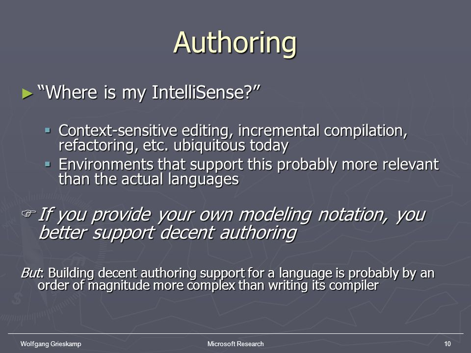 Authoring Where is my IntelliSense