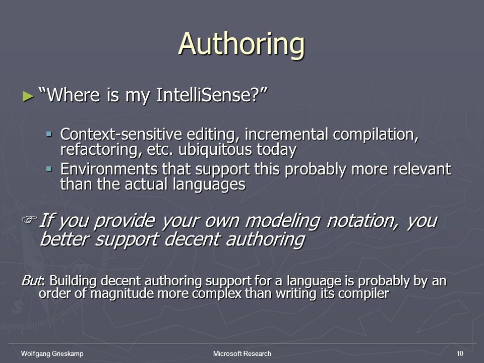 Authoring Where is my IntelliSense