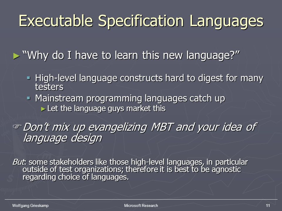 Executable Specification Languages