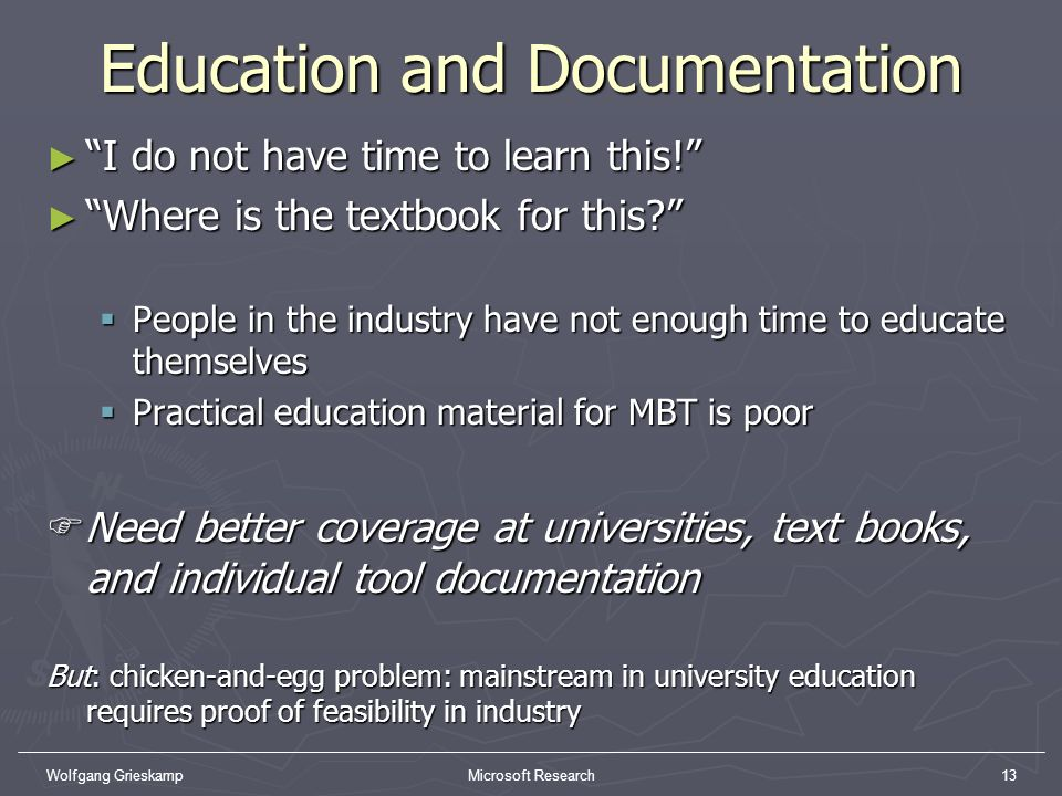 Education and Documentation