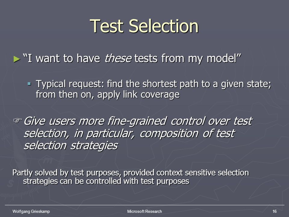 Test Selection I want to have these tests from my model