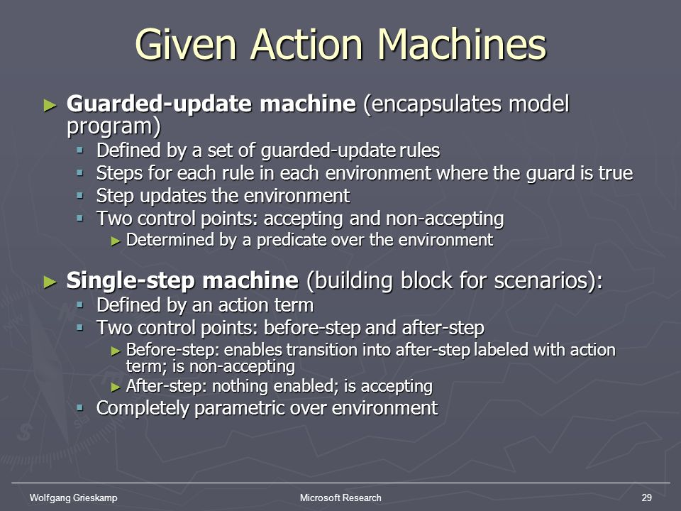 Given Action Machines Guarded-update machine (encapsulates model program) Defined by a set of guarded-update rules.