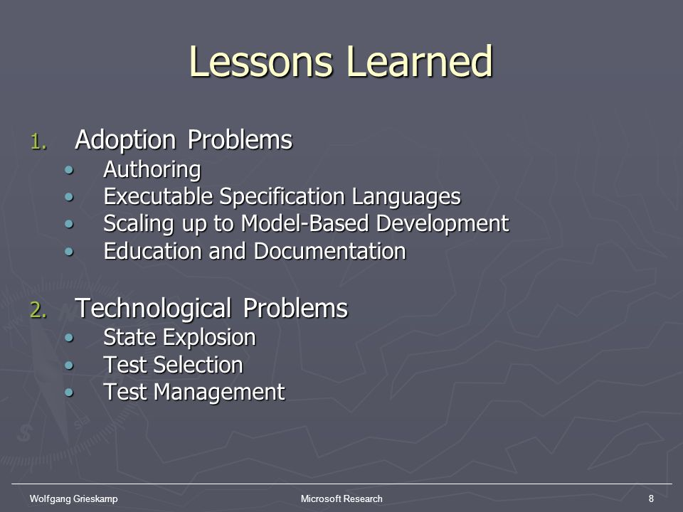 Lessons Learned Adoption Problems Technological Problems Authoring