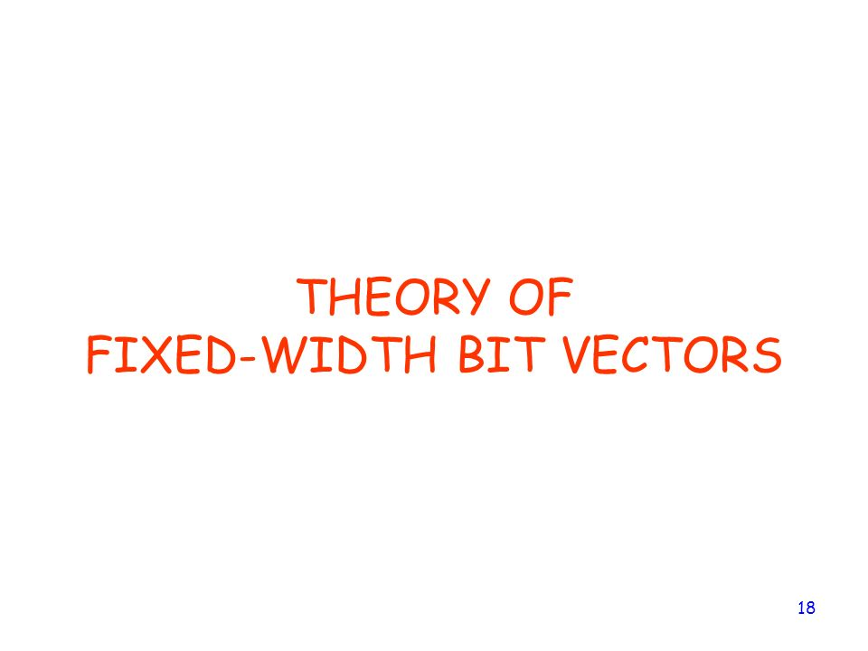 THEORY OF FIXED-WIDTH BIT VECTORS