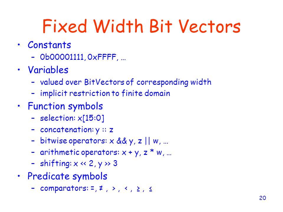 Fixed Width Bit Vectors