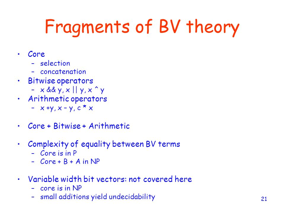 Fragments of BV theory Core Bitwise operators Arithmetic operators