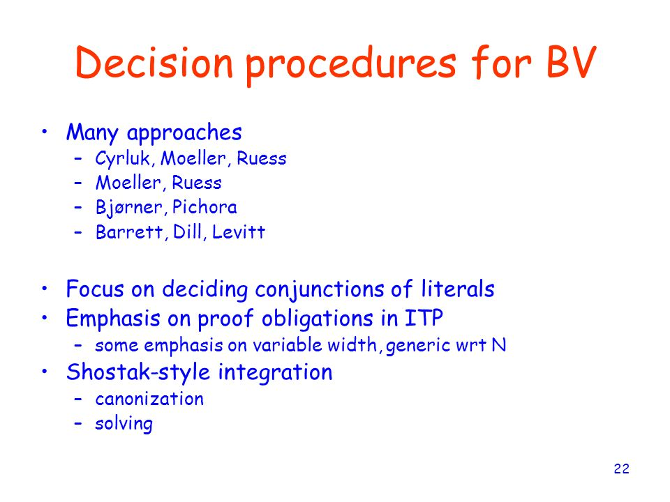 Decision procedures for BV