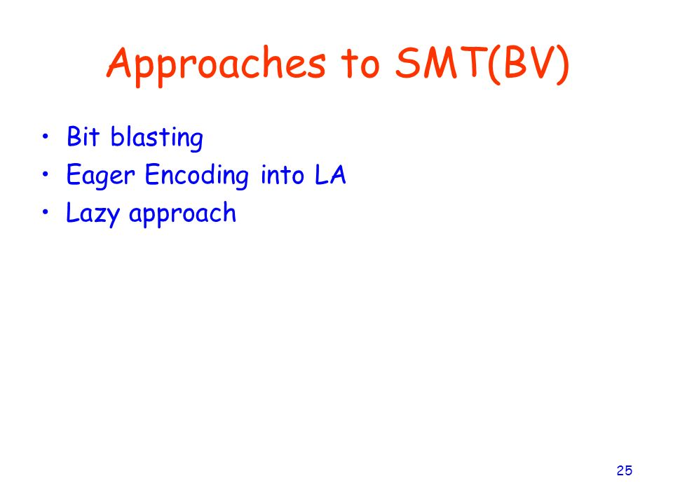 Approaches to SMT(BV) Bit blasting Eager Encoding into LA