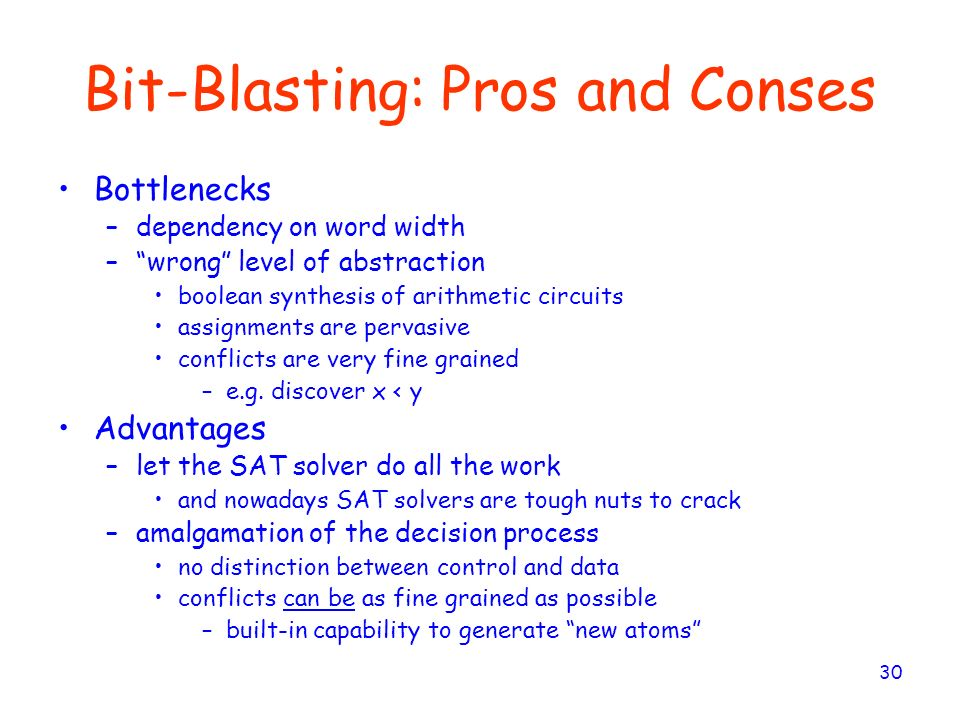 Bit-Blasting: Pros and Conses