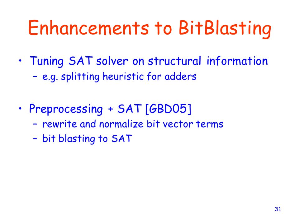 Enhancements to BitBlasting