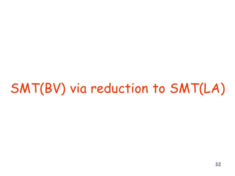 SMT(BV) via reduction to SMT(LA)