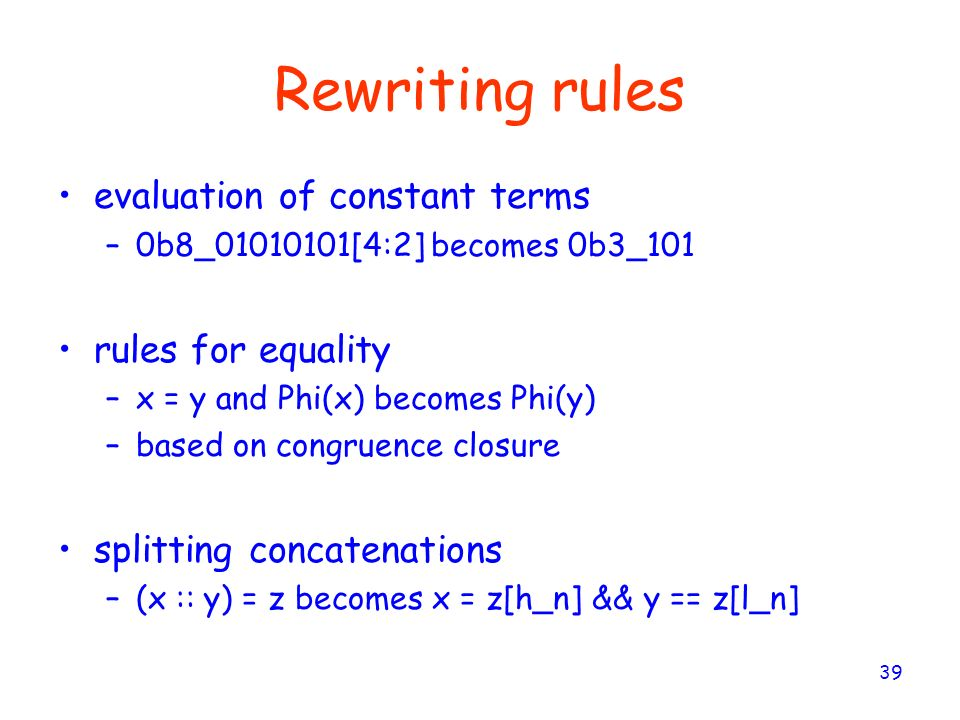 Rewriting rules evaluation of constant terms rules for equality