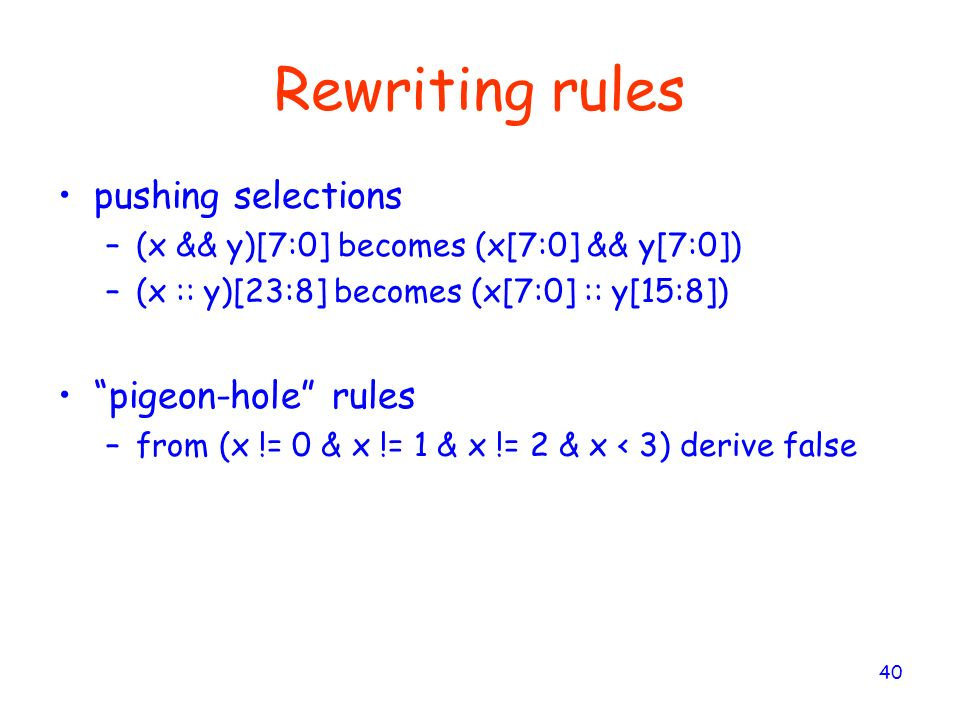 Rewriting rules pushing selections pigeon-hole rules