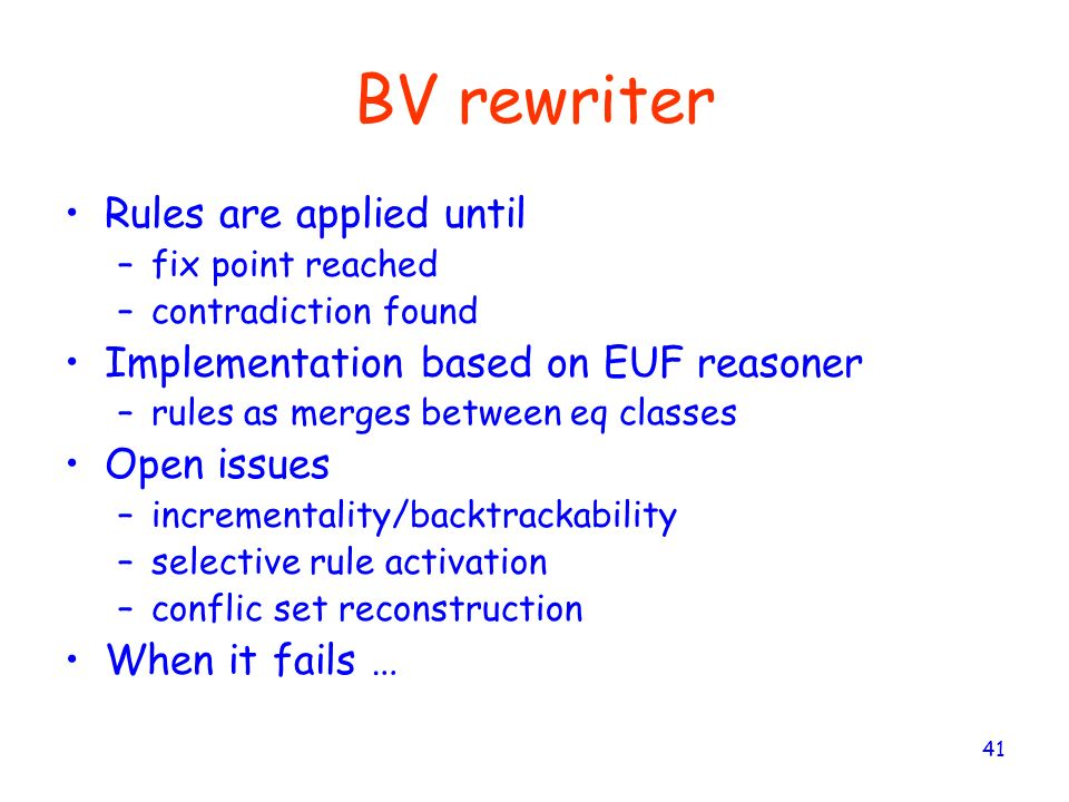 BV rewriter Rules are applied until