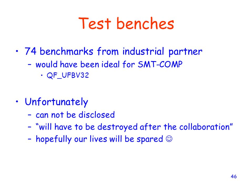 Test benches 74 benchmarks from industrial partner Unfortunately