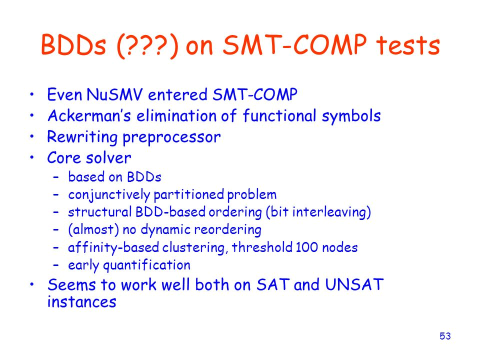 BDDs ( ) on SMT-COMP tests