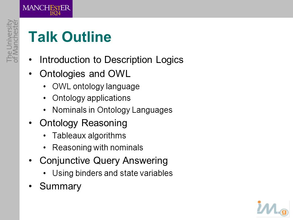 Talk Outline Introduction to Description Logics Ontologies and OWL