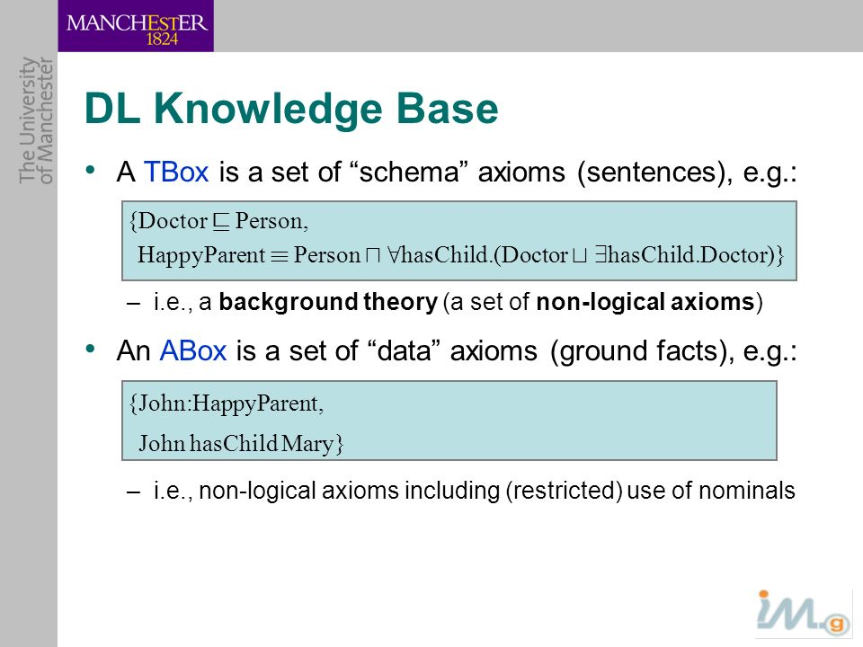 DL Knowledge Base A TBox is a set of schema axioms (sentences), e.g.: {Doctor v Person,