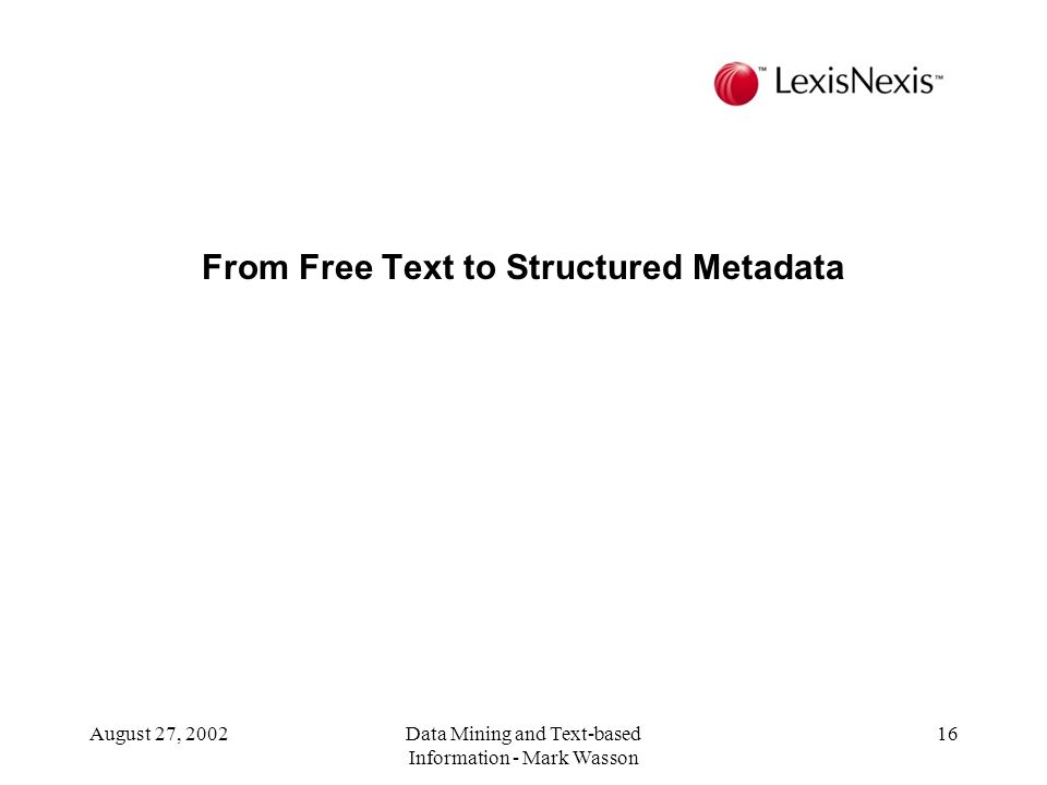 From Free Text to Structured Metadata