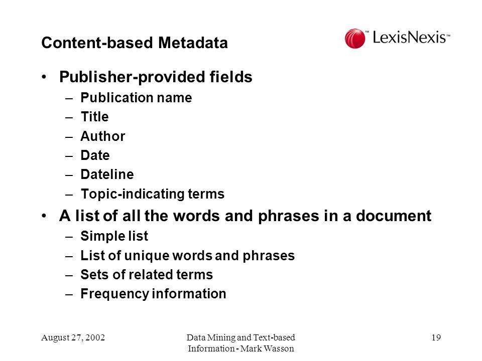 Content-based Metadata