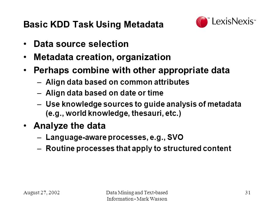 Basic KDD Task Using Metadata