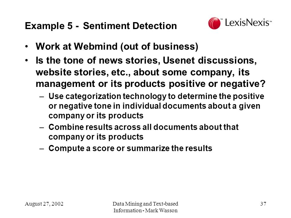 Example 5 - Sentiment Detection