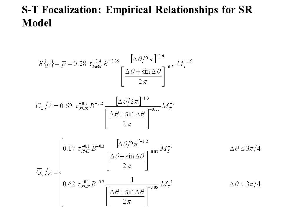 S-T Focalization: Empirical Relationships for SR Model