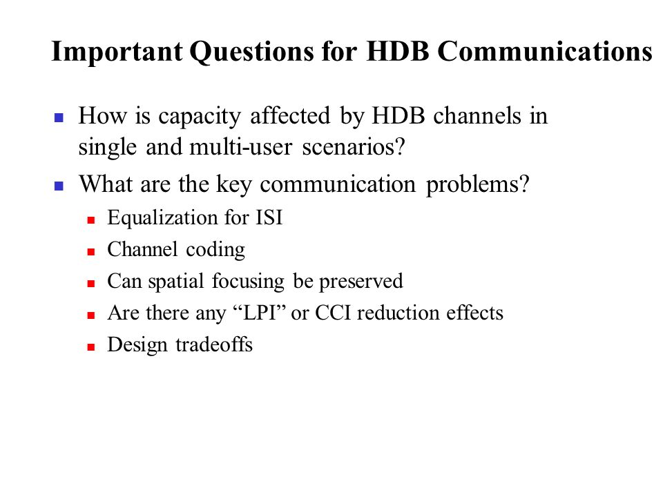 Important Questions for HDB Communications