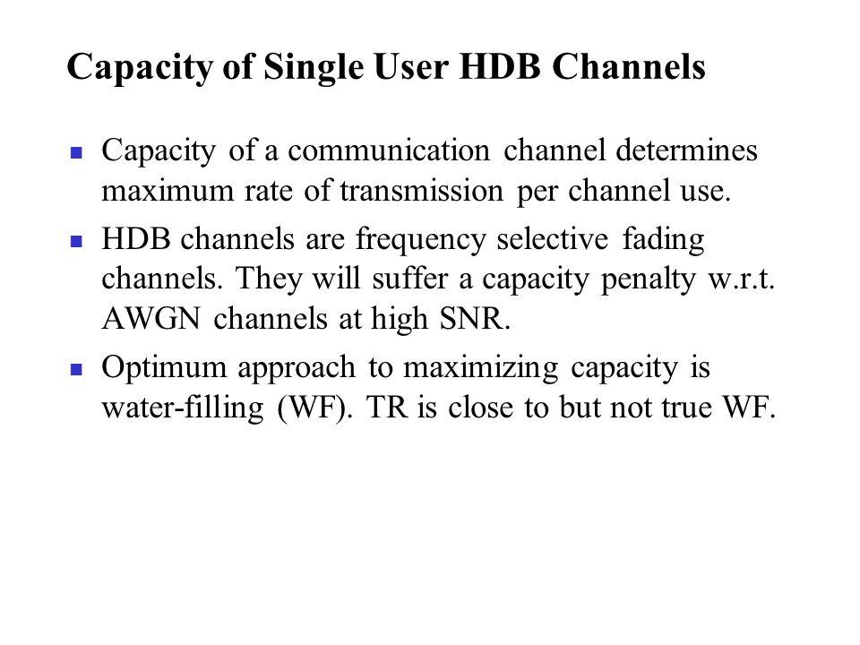 Capacity of Single User HDB Channels