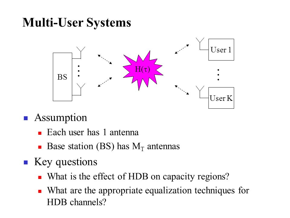 Multi-User Systems Assumption Key questions . . . . . .