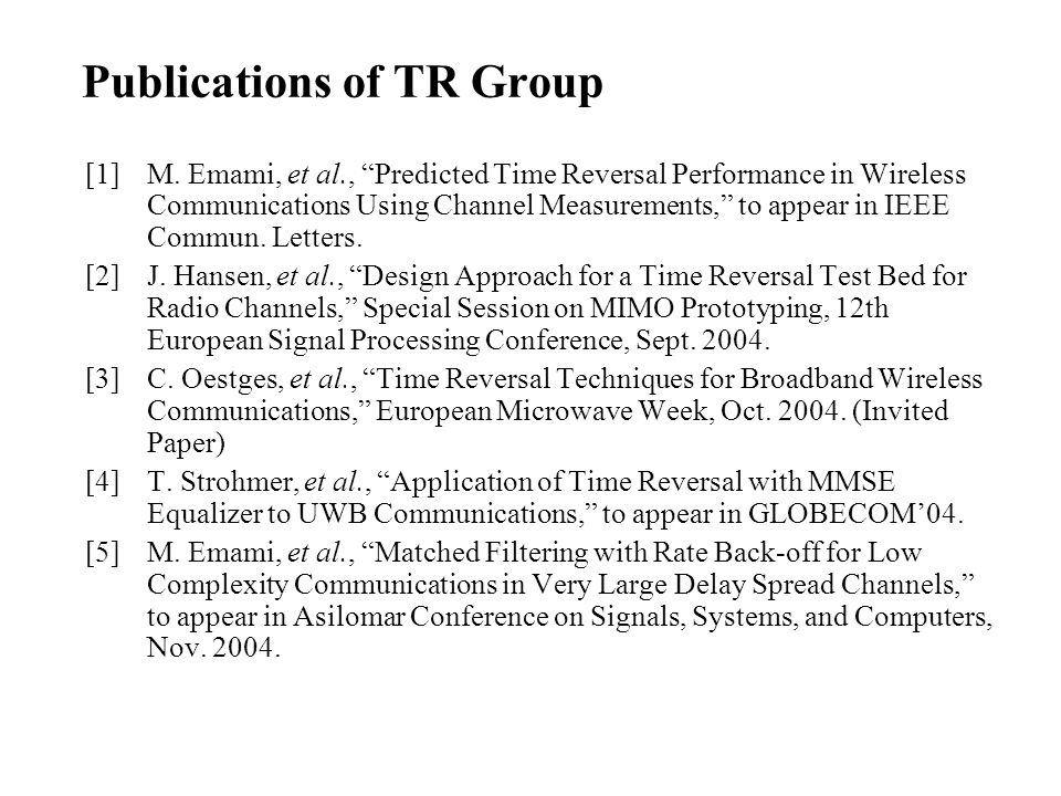 Publications of TR Group