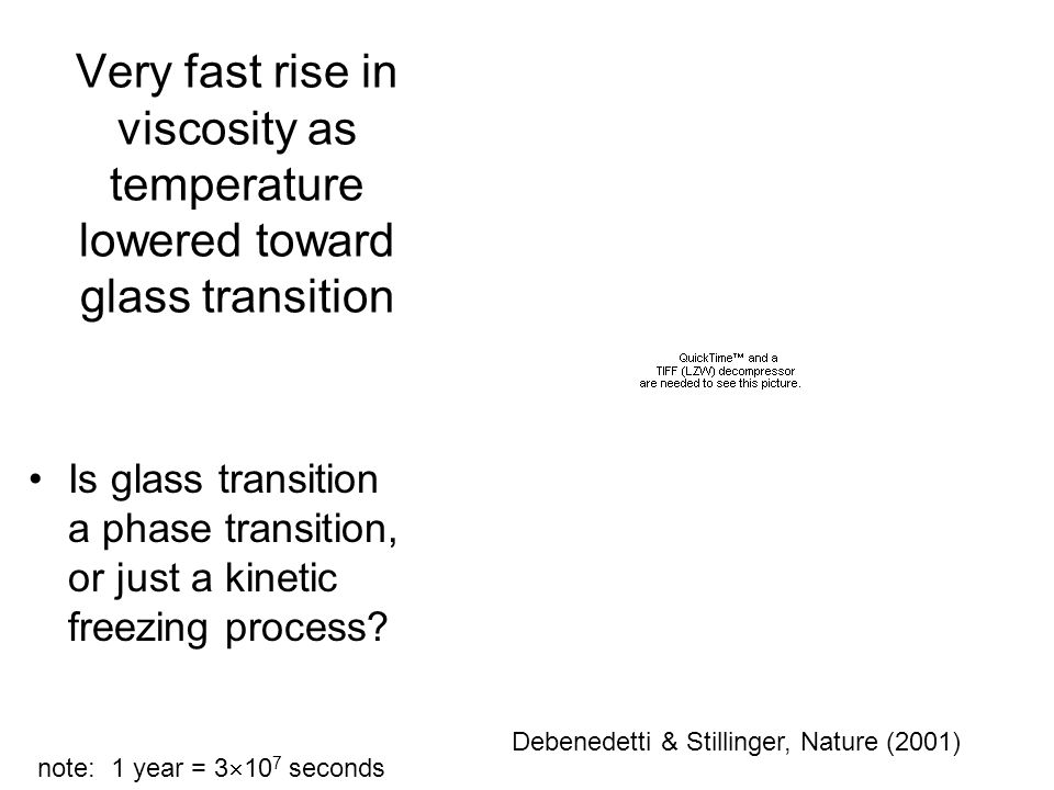 Very fast rise in viscosity as temperature lowered toward glass transition